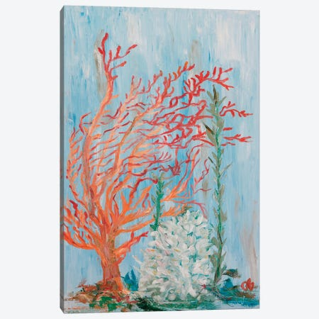 Painterly Coral I Canvas Print #OBR1} by Olivia Brewington Canvas Wall Art