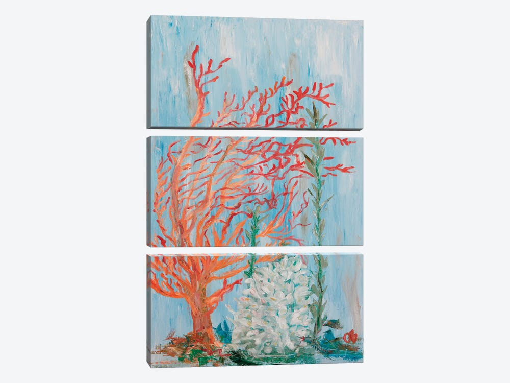 Painterly Coral I by Olivia Brewington 3-piece Canvas Wall Art