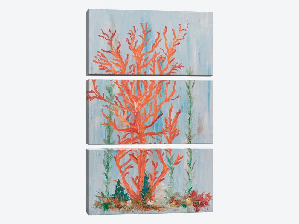 Painterly Coral II by Olivia Brewington 3-piece Canvas Print