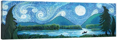 Canoeing The Cosmos Canvas Art Print