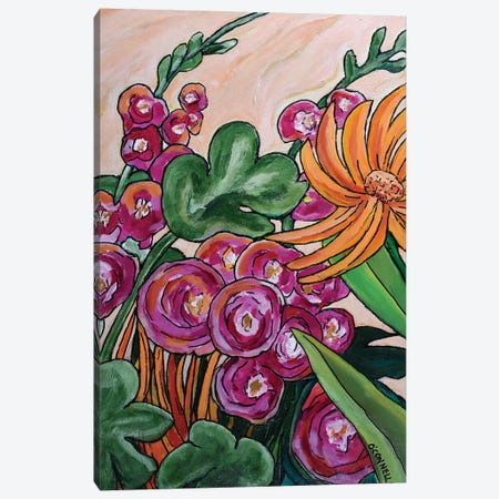 Hollyhocks And Lilies Canvas Print #OCN30} by James O'Connell Canvas Art Print