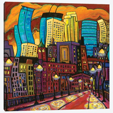 Minneapolis' City Lights Canvas Print #OCN40} by James O'Connell Canvas Artwork
