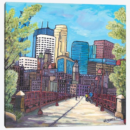 Mpls City Bikers Canvas Print #OCN49} by James O'Connell Canvas Wall Art