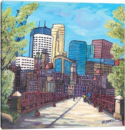 Mpls City Bikers Canvas Art Print