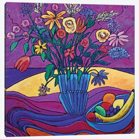 Plum Velvet On Table & Wall With Flowers & Fruit Canvas Print #OCN57} by James O'Connell Canvas Art