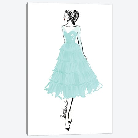 Teal + Tulle Canvas Print #ODS22} by Cate Odson Canvas Wall Art