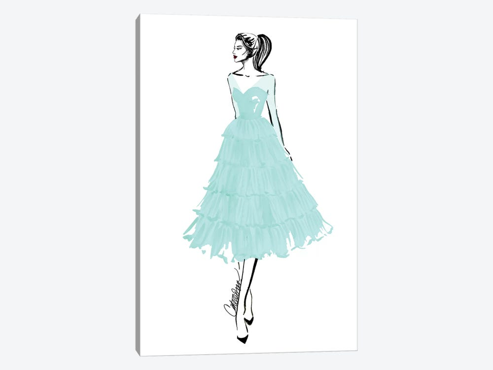 Teal + Tulle by Cate Odson 1-piece Art Print