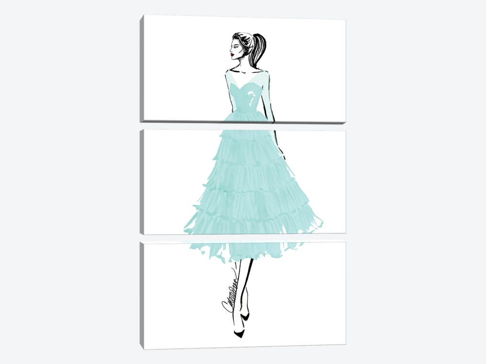 Teal + Tulle by Cate Odson 3-piece Canvas Art Print