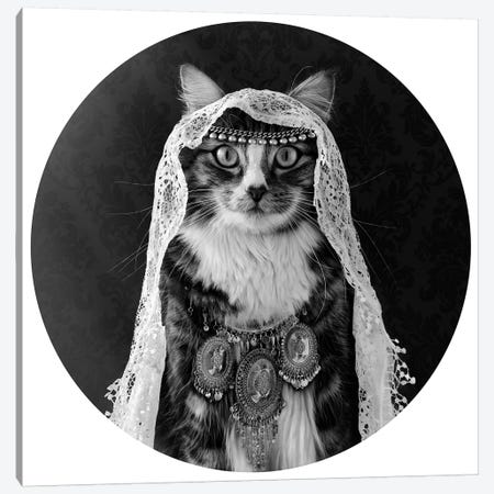 The Feline Mind Reader Canvas Print #ODT19} by Oddball Tails Canvas Art