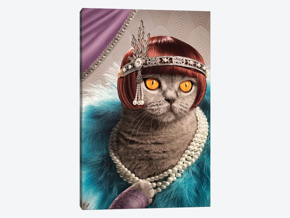 The Great Catsby by Oddball Tails 1-piece Canvas Art