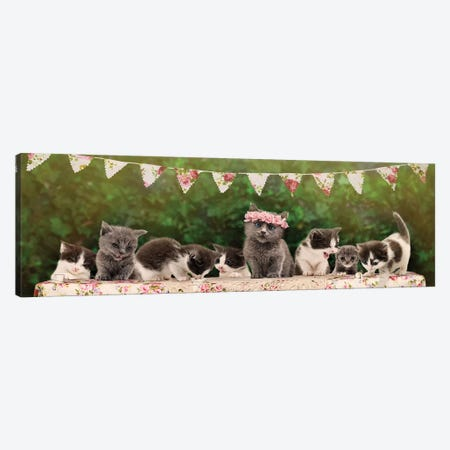 The Kitten Tea Party Canvas Print #ODT23} by Oddball Tails Art Print