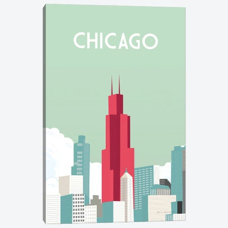 Chicago Canvas Print #OES13} by Omar Escalante Canvas Wall Art