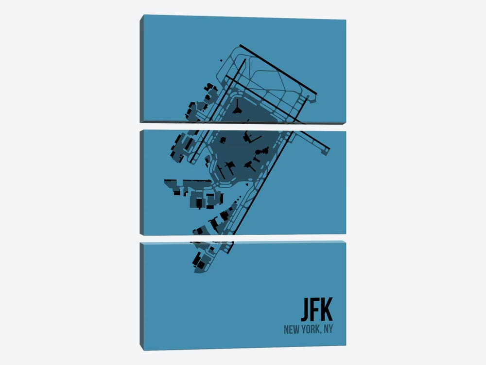 New York (JFK) by 08 Left 3-piece Canvas Wall Art