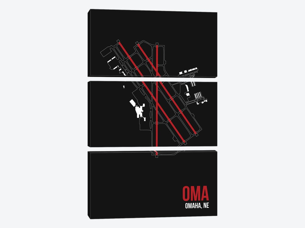 Omaha (Eppley) by 08 Left 3-piece Canvas Print