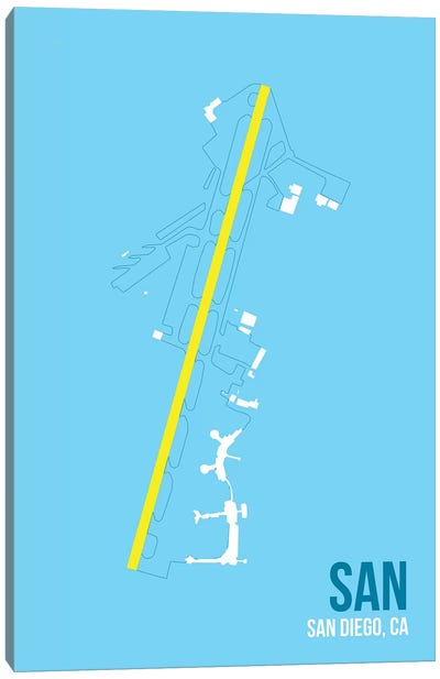 Airport Diagram Series: San Diego Canvas Print #OET134