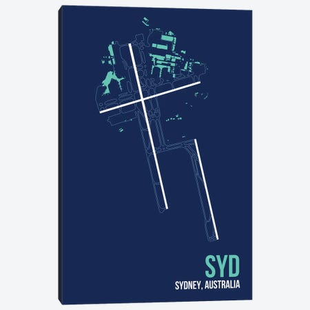 Sydney (Kingsford Smith) Canvas Print #OET140} by 08 Left Art Print