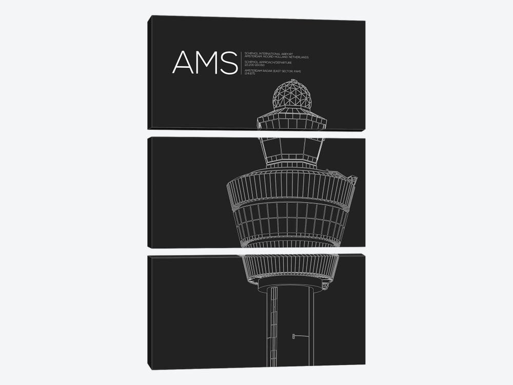 AMS Tower, Schiphol International Airport by 08 Left 3-piece Art Print