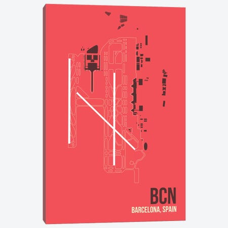 BCN Diagram, Barcelona, Spain Canvas Print #OET155} by 08 Left Canvas Art Print