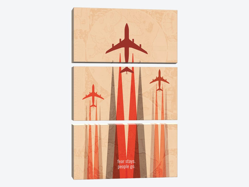 Fear Stays. People Go. Travel Poster by 08 Left 3-piece Art Print