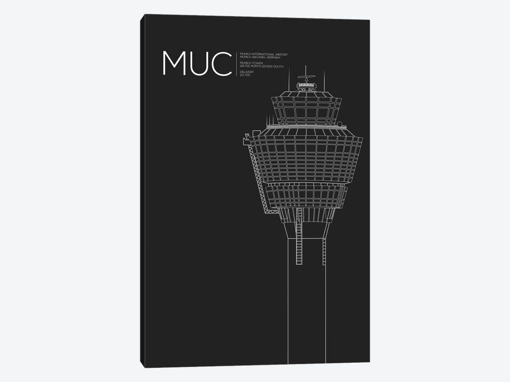 MUC Tower, Munich International Airport by 08 Left 1-piece Canvas Art Print