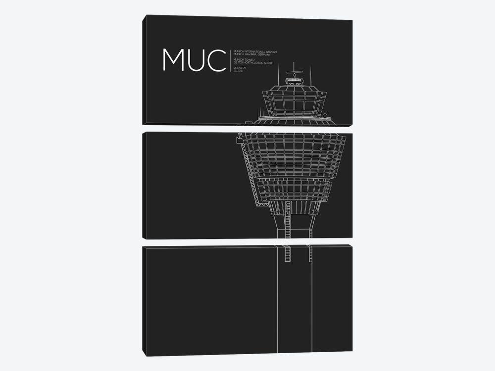 MUC Tower, Munich International Airport by 08 Left 3-piece Canvas Print