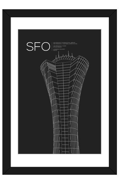 SFO Tower, San Francisco International Airport Framed Art Print
