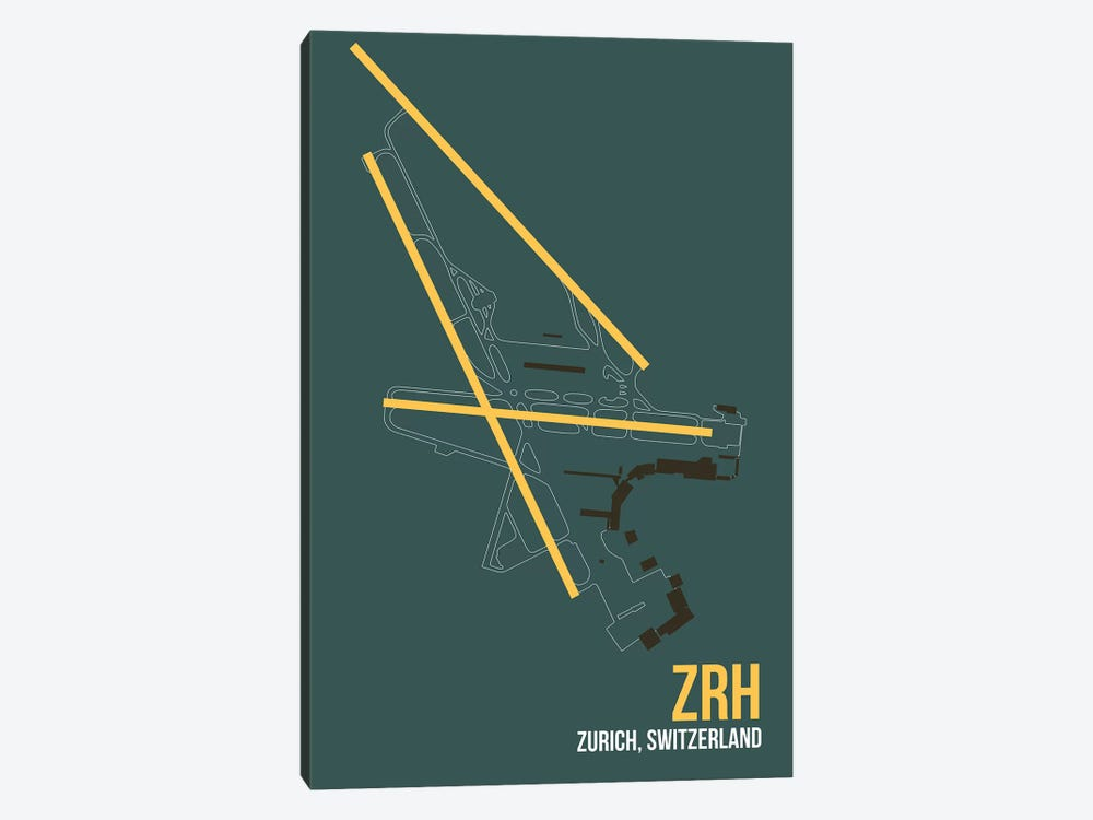 ZRH Diagram, Zurich by 08 Left 1-piece Art Print