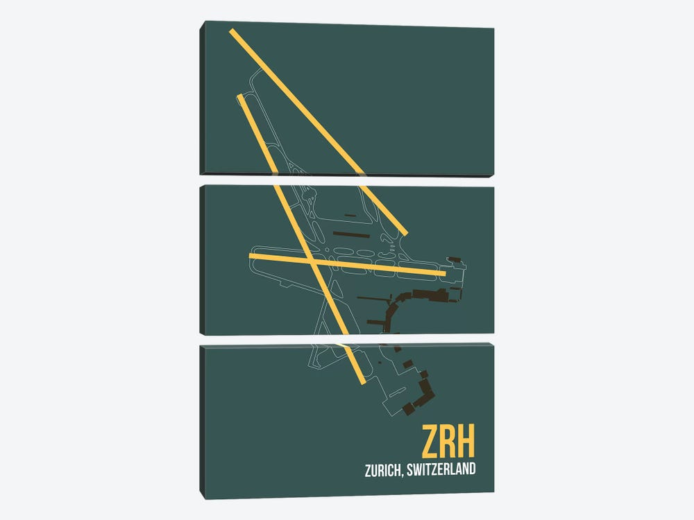 ZRH Diagram, Zurich by 08 Left 3-piece Art Print
