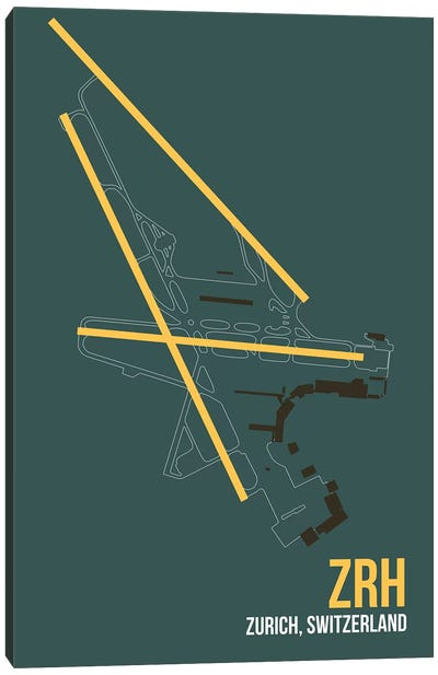 ZRH Diagram, Zurich Canvas Art Print