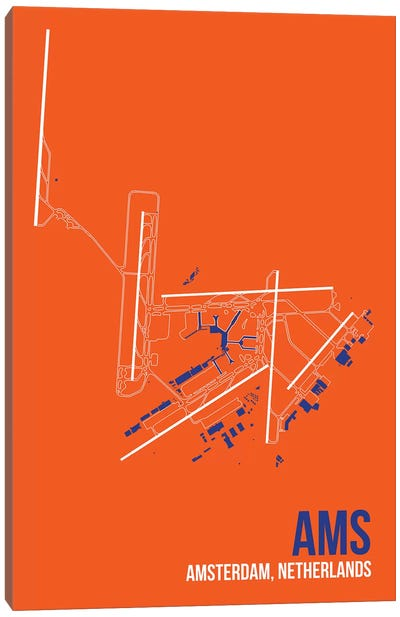 Airport Diagram Series: Amsterdam Canvas Print #OET78