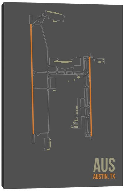 Airport Diagram Series: Austin-Bergstrom Canvas Print #OET82