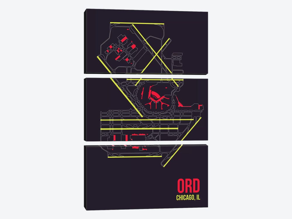 Chicago (O'Hare) by 08 Left 3-piece Art Print