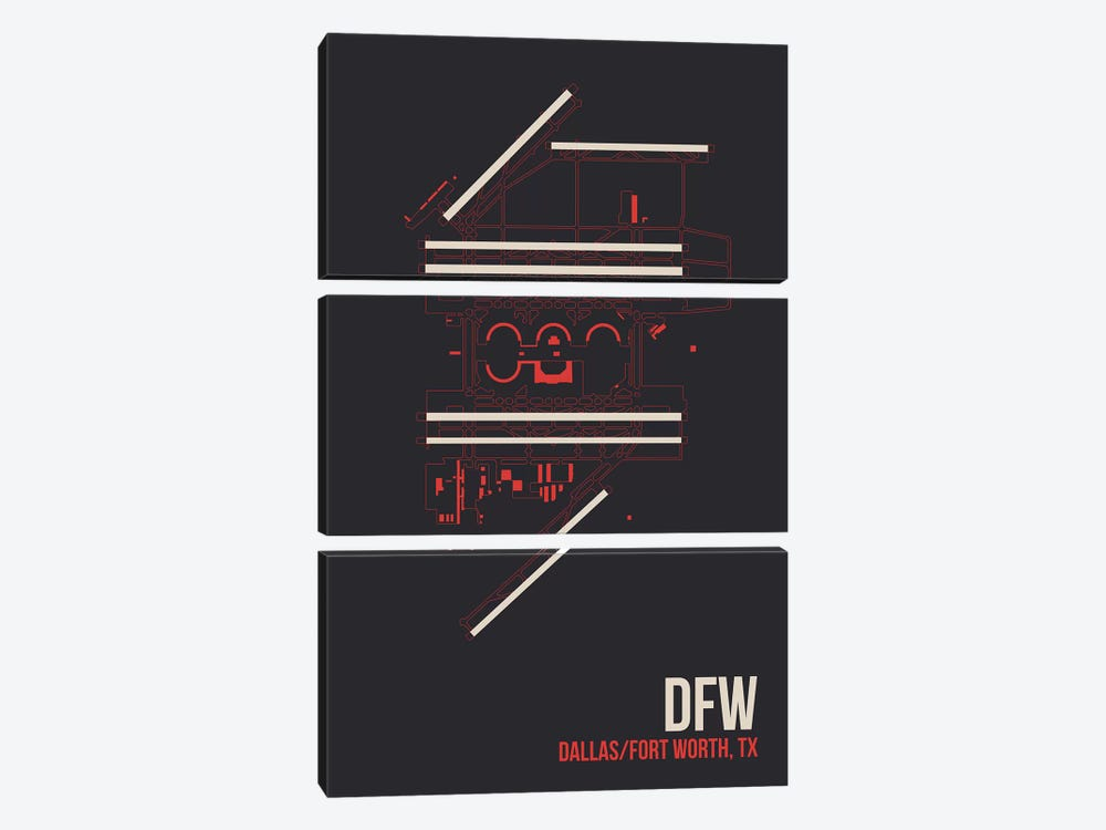 Dallas/Fort Worth by 08 Left 3-piece Canvas Wall Art