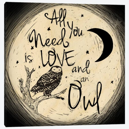 Love And An Owl Canvas Print #OFA1} by 5by5collective Canvas Wall Art