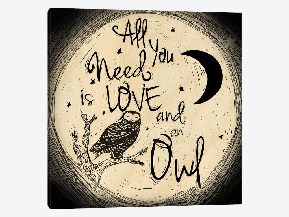 Love And An Owl by 5by5collective 1-piece Canvas Artwork