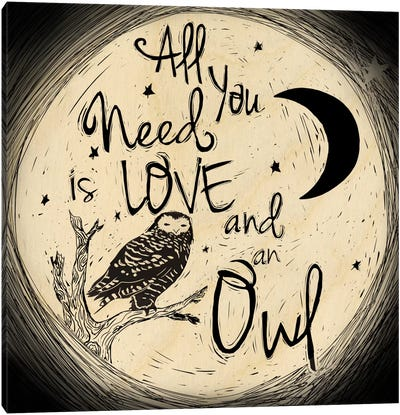 Love And An Owl Canvas Art Print