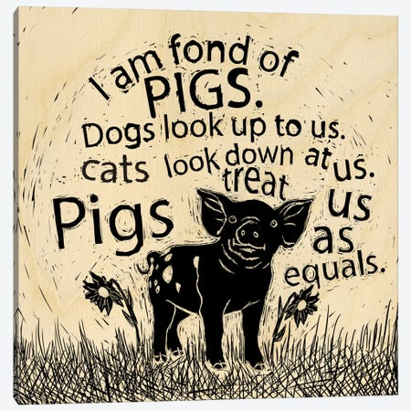 I Am Fond Of Pigs Canvas Print #OFA21} by 5by5collective Art Print
