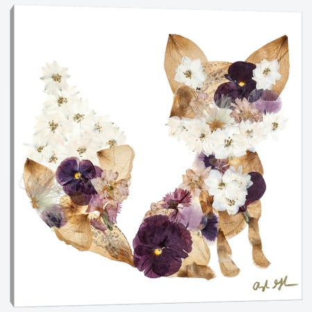Fox - Purple Canvas Print #OFC12} by Oxeye Floral Co Canvas Wall Art
