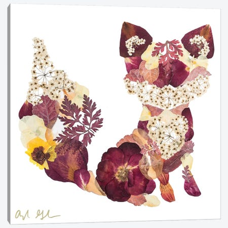 Fox - Brown Canvas Print #OFC13} by Oxeye Floral Co Canvas Art