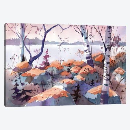 Evening On The Lake Canvas Print #OGA10} by Olga Aksenova Canvas Art Print