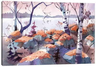 Evening On The Lake Canvas Art Print