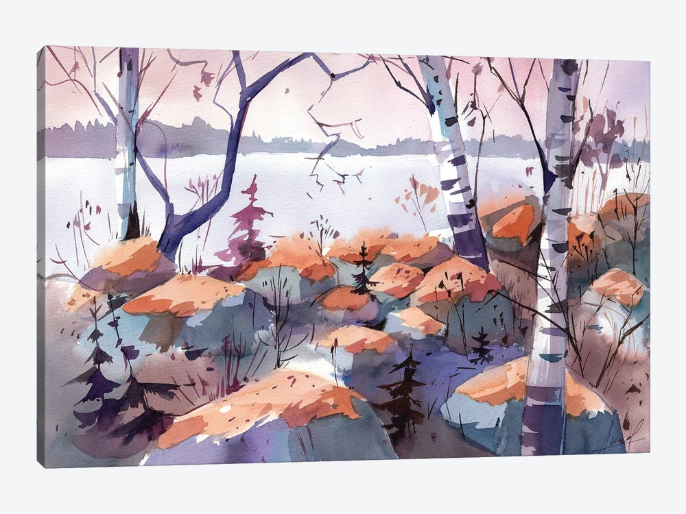Evening On The Lake by Olga Aksenova 1-piece Canvas Art