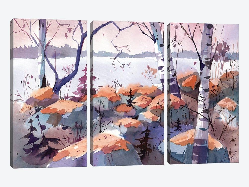 Evening On The Lake by Olga Aksenova 3-piece Canvas Art