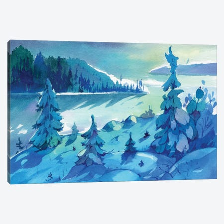 Winter Sunset Canvas Print #OGA12} by Olga Aksenova Canvas Art Print