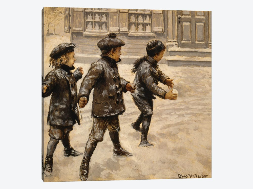 Boys & Snowballs by Otto Henry Bacher 1-piece Canvas Wall Art