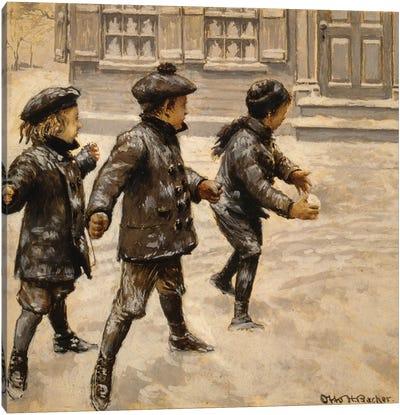 Boys & Snowballs Canvas Art Print