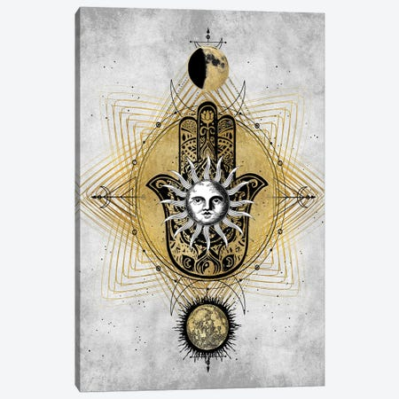 Hamsa Hand with Sun Canvas Print #OJE46} by Oliver Jeffries Canvas Wall Art
