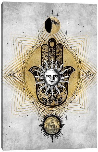 Hamsa Hand with Sun Canvas Art Print