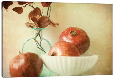 Pomegranates And Milk Glass Canvas Art Print