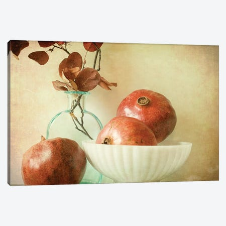 Pomegranates And Milk Glass Canvas Print #OJS28} by Olivia Joy StClaire Art Print